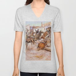 In Without Knocking - Charles Marion Russell Unisex V-Neck