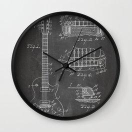 Gibson Guitar Patent - Les Paul Guitar Art - Black Chalkboard Wall Clock