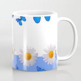 BABY BLUE MODERN ART BLUE BUTTERFLIES & WHITE DAISIES Coffee Mug