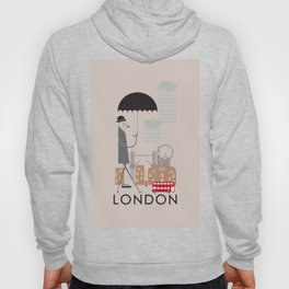 London - In the City - Retro Travel Poster Design Hoody