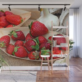 Fresh Strawberries On Wooden Plates And Garlic Bulbs Wall Mural