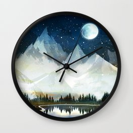 Mountain Lake Under the Starlight Wall Clock