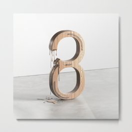 Melting Number Eight Metal Print