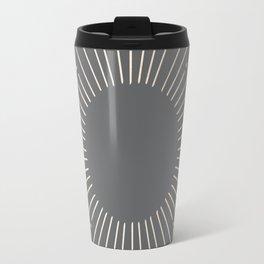 Simply Sunburst in White Gold Sands on Storm Gray Travel Mug