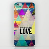 """pocketfuel iPhone & iPod Skins featuring 1 Corinthians 13:13 """"And the greatest of these is Love"""" by Pocket Fuel"""