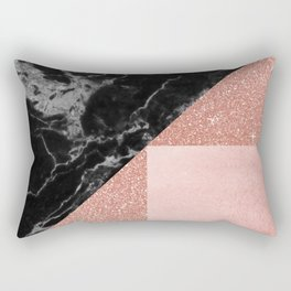 Black Marble Rose Gold Rectangular Pillow