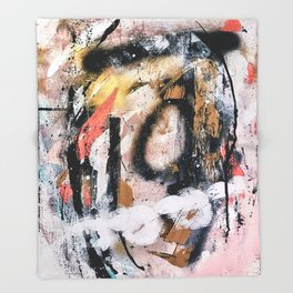 Lightning Soul: a vibrant colorful abstract acrylic, ink, and spray paint in gold, black, pink Throw Blanket