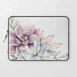 Desert Succulents on White Laptop Sleeve