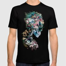 Floral Skull RP LARGE Mens Fitted Tee Black