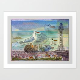 The Seagull and the Lighthouse Art Print
