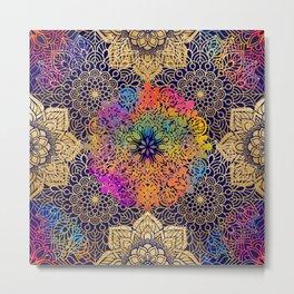 Beautiful Navy, Gold & Rainbow Bohemian Mandala Pattern Metal Print