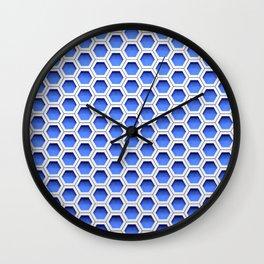 Blue white honeycomb hexagons Wall Clock
