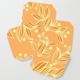 Orange Floral Pattern Coaster