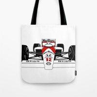 senna Tote Bags featuring Senna MP4/4 by DasWauto