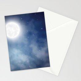 Night sky moon Stationery Cards