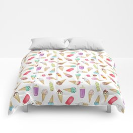 Scattered Ice Creams and Ice Lollies Comforters