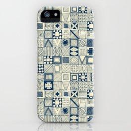 wolf geo blue ivory iPhone Case