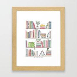 Bookshelf with cats - Watercolor illustration Framed Art Print