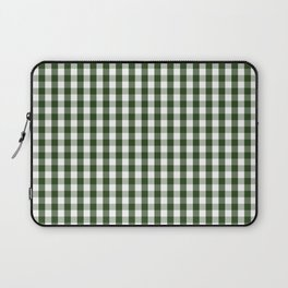 Dark Forest Green and White Gingham Check Laptop Sleeve