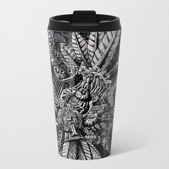 Aztec Great Lizard Warrior 1 (Triceratops) Metal Travel Mug