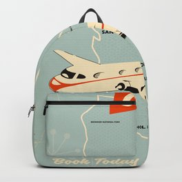 California 1950s vintage style travel poster Backpack