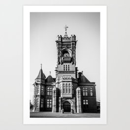 Cardiff Bay Pierhead Landmark Historic Building Wales Black and White Art Print