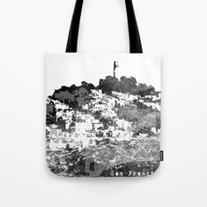 Telegraph Hill Print Black and Grey Tote Bag