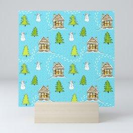 Alpine Ski lodge on Turquoise Mini Art Print