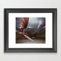 Smaug Burns Lake-Town Framed Art Print