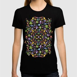 Terrific monsters posing for a colorful pattern design T-shirt