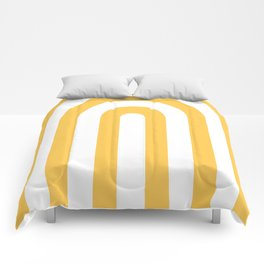 yellow and white retro u stripes Comforters