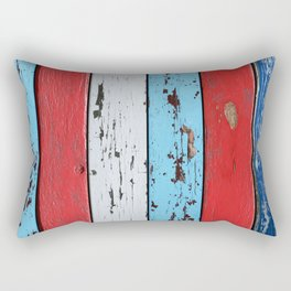 Multicolored Wooden Planks Rectangular Pillow