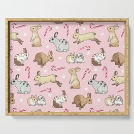 Christmas Rabbits and Candy Canes - pink Serving Tray