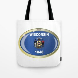 Wisconsin State Flag Oval Button Tote Bag