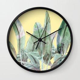 Bananas Leaves in Yellow Wall Clock