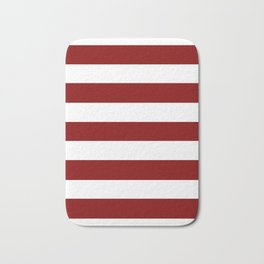 Maroon (HTML/CSS) - solid color - white stripes pattern Bath Mat