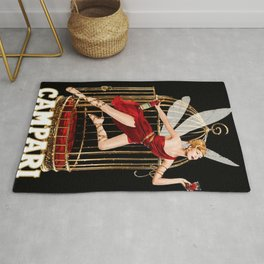 Vintage Bitter Campari Fairy Lithograph Advertisement Rug