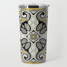 Edwardian Geo Yellow Grey Travel Mug