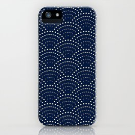Japanese Blue Wave Seigaiha Indigo Super Moon Pattern iPhone Case