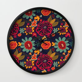 Bright Playful Flowers with Dark background Wall Clock