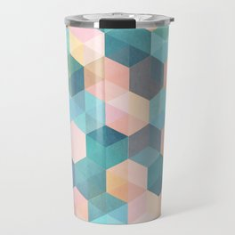 Child's Play 2 - hexagon pattern in soft blue, pink, peach & aqua Travel Mug