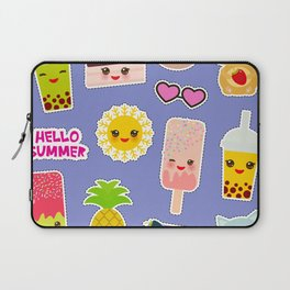 Hello Summer. Pineapple, cherry smoothie cup, ice cream, sun, cat, cake, hamster. Kawaii cute face. Laptop Sleeve