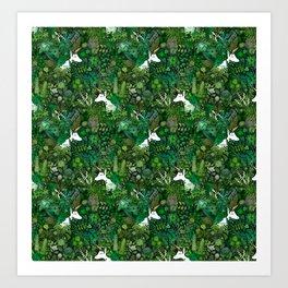 Irish Unicorn in a Garden of Green Art Print