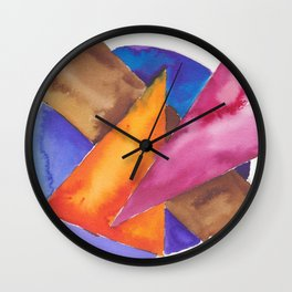 180819 Geometrical Watercolour 6| Colorful Abstract | Modern Watercolor Art Wall Clock