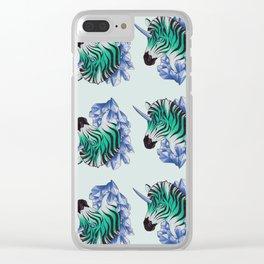 Aqua Zebracorn Clear iPhone Case