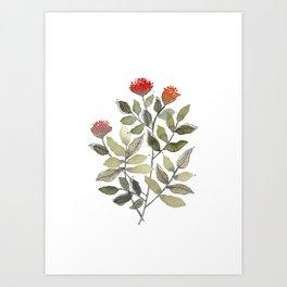 Organic watercolor botanicals 3 Art Print