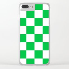 Large Checkered - White and Dark Pastel Green Clear iPhone Case