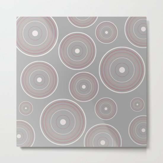 CONCENTRIC CIRCLES IN GREY (abstract pattern) Metal Print