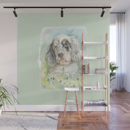 ENGLISH SETTER PUPPY Cute dog portrait on the dandelions meadow Wall Mural