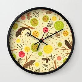 Ditsy tree lizards Wall Clock
